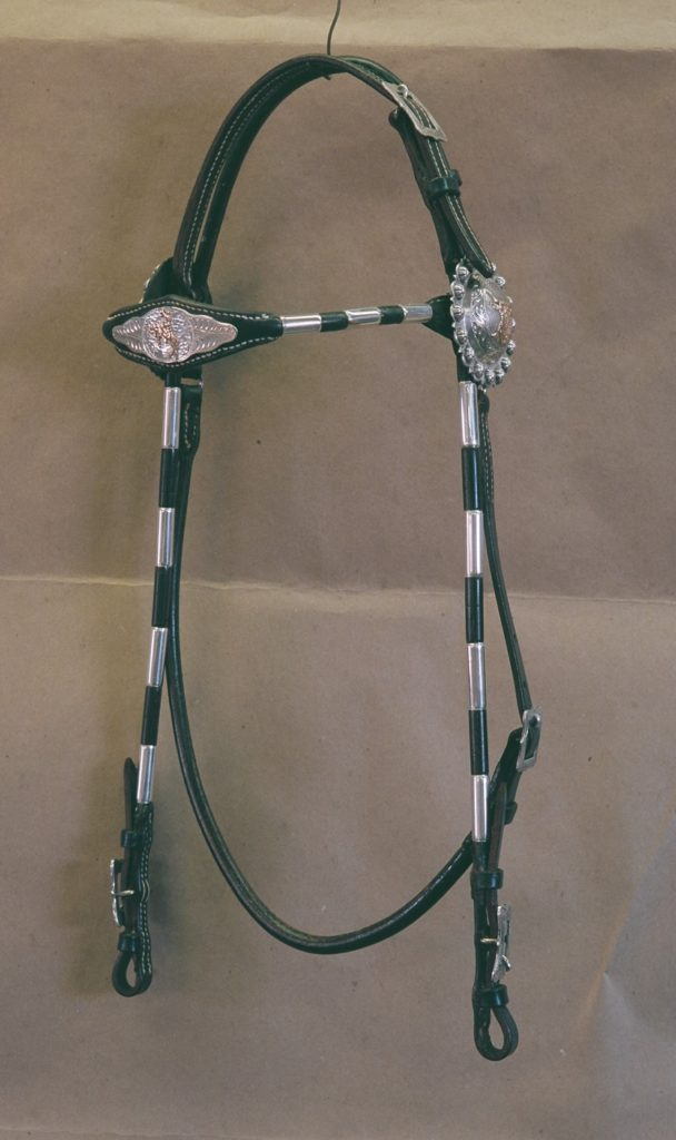 DG015 Rolled Round Browband Headstall (black)