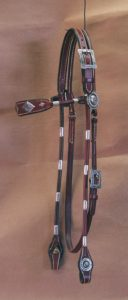 MO915 Chestnut Browband Rolled Round Headstall